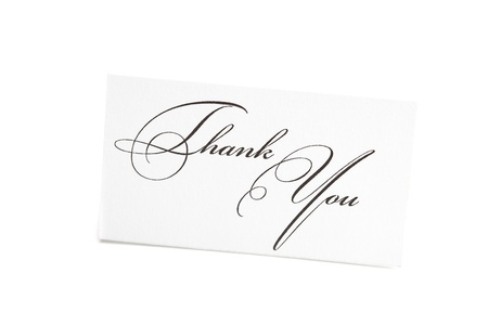 card signed thank you isolated on white photo