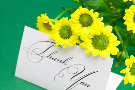 yellow daisy and card signed thank you on green background photo