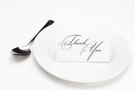 plate with card signed thank you isolated on white Stock Photo - 9278306