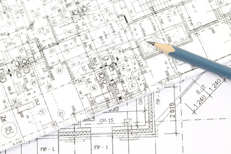 background of the architectural drawings and pencil