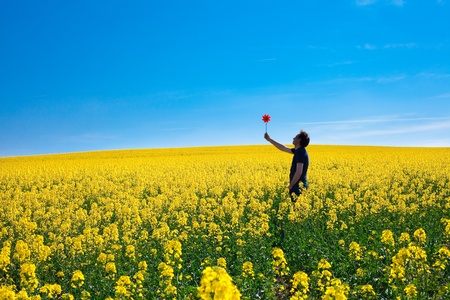 man with pinwheel standing in a field of yellow rape against the blue sky photo