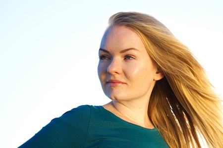 portrait of a beautiful young woman  outdoor photo