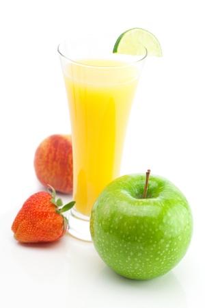 juice,apple,strawberry isolated on white photo