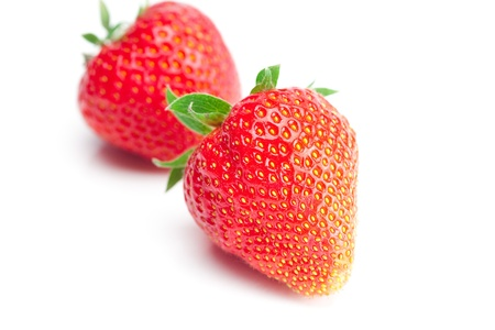 big juicy red ripe strawberries  isolated on white Stock Photo - 9663524