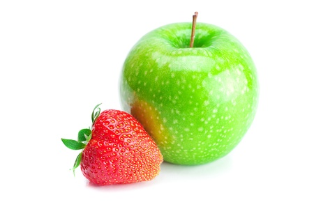 big juicy red ripe strawberries and apple  isolated on white photo