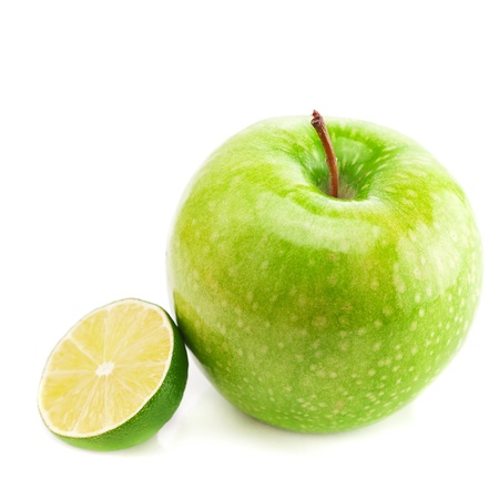 apple and lime isolated on white photo