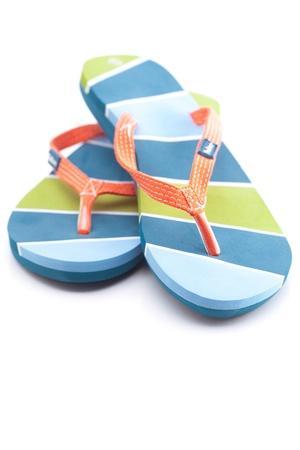 beautiful beach slippers isolated on white Stockfoto