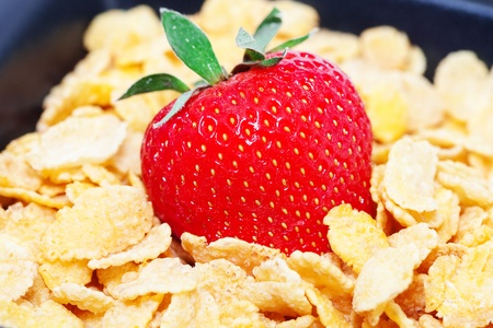 strawberry and flakes in a bowl  photo