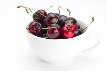 cherries in a bowl isolated on white photo