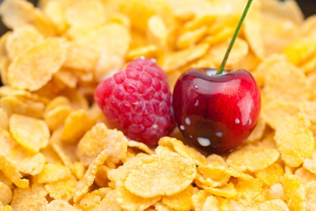 raspberry,cherry,milk and flakes in a bowl photo