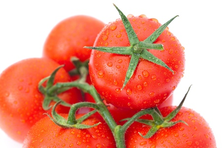 background of the tomato with water drops photo