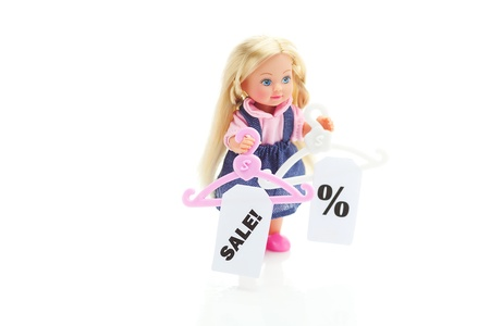 doll and hanger with a price tag sale isolated on white Stock Photo - 11712561