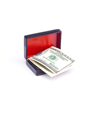 flying coffin: Dollars in the black box isolated on white