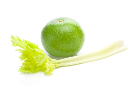 celery and green grapefruit  isolated on white photo