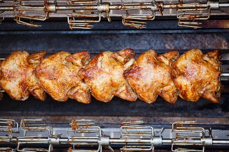 pan fried: chicken grilled on a skewer background