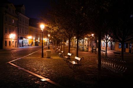 gravel road: beautiful night view of the street in Prague