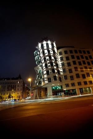 dancing house: beautiful night view of Prague Dancing House