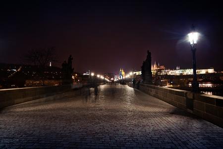 beautiful night view of the Charles Bridge in Prague photo