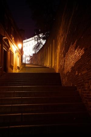 beautiful night view of the street in Prague photo