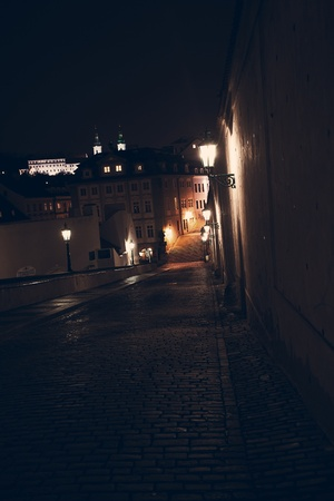 beautiful night view of the street in Prague photo