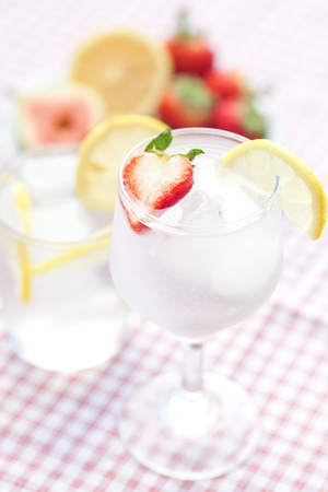 cocktail with ice,lemon, fig and strawberries on a plate Stock Photo - 13640863
