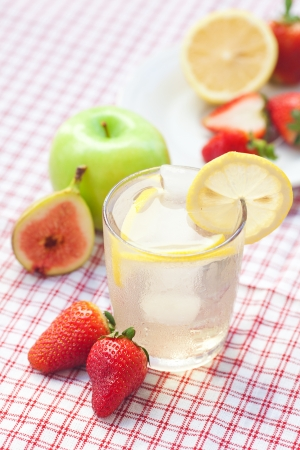 cocktail with ice,lemon,apple, fig and strawberries on a plate Stock Photo - 13640870