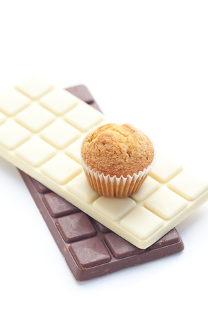 bar of chocolate and muffin isolated on white Stock Photo - 13646445