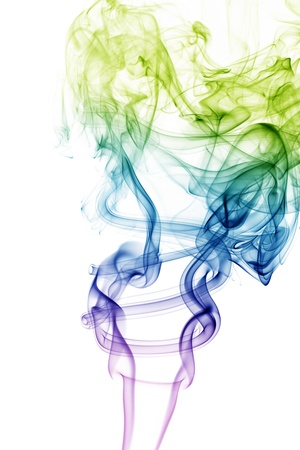 wave and smoke of different colors isolated on white photo