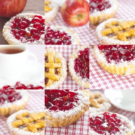 collage of beautiful cake with berries,apple and tea photo