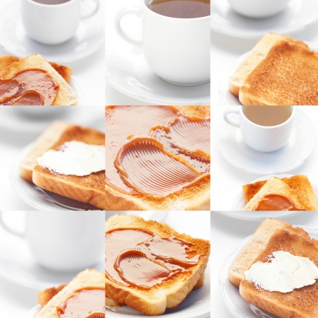 collage of tea and toast with caramel,toast with butter photo
