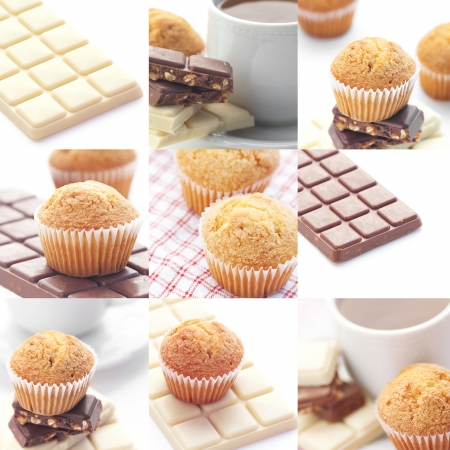 collage of bar of chocolate,tea and muffin  Stock Photo - 13747672