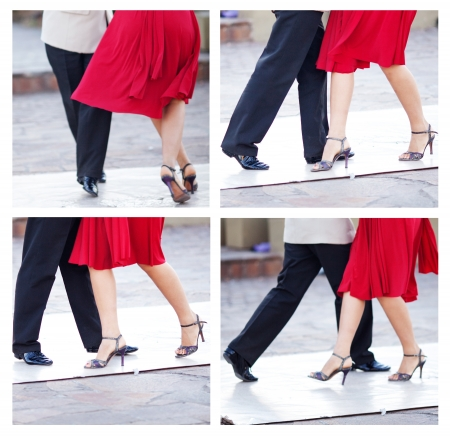 collage of a couple dancing the tango in the streets of Buenos Aires photo