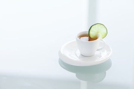 cup of tea on a glass surface Stock Photo - 13965091