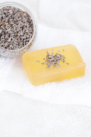 soap and lavender on a white towel