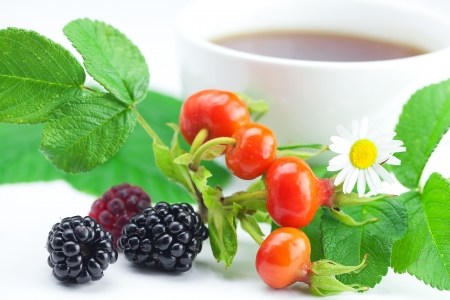 cup of tea, blackberry,raspberry,chamomile and rosehip berries with leaves on white background photo