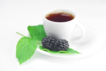 cup of tea and  blackberry with leaves on white background Stock Photo - 14649300