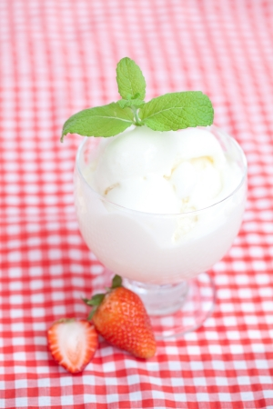 ice cream,strawberry with mint in a glass bowl on plaid fabric photo