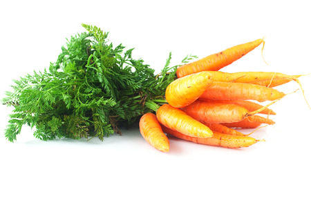 bunch of carrots with green leaves isolated on white