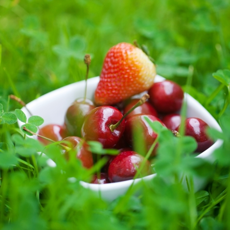 Cherries and strawberry in a ceramic bowl on green grass photo