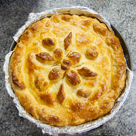 meat pie with beautiful patterns