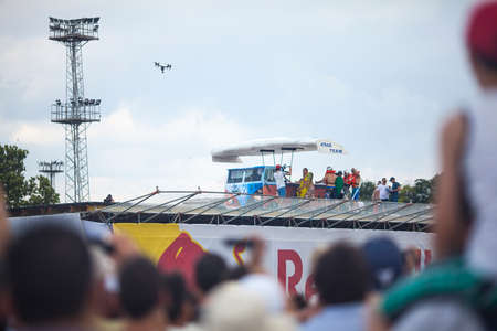 competitor: VARNA - JULY 2: A competitor is jumping an improvised aircraft in the sea during the Red Bull Flugtag on July 2 , 2016 in Varna, Bulgaria