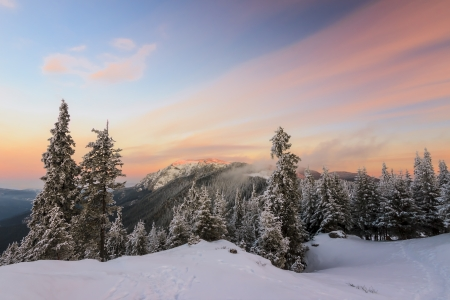 Colorful winter sunrise in the mountains photo