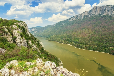 Danube gorge,seen from the Romanian side,Cazanele Mari National Park Stock Photo - 21087205