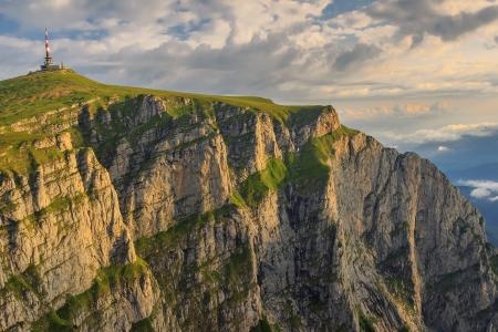 Sunrise in the mountains and cloudy sky Bucegi mountains,Carpathians,Romania