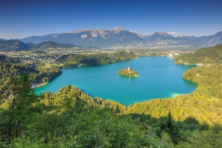 bled: Bled Lake,island and mountains in background,Szlovenia,Europe