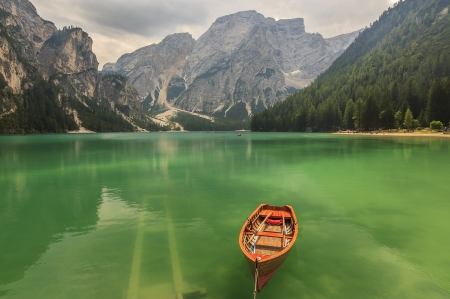 Lago di Braies and Seekofel in Dolomiti mountains Trentino Alto Adige,Italy
