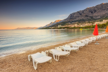 Morning on the beach,Makarska,Croatian Riviera,Dalmatia,Europe photo