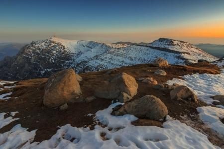 Winter landscape and beautiful sunset in the Bucegi mountains,Carpathians,Transylvania,Romania