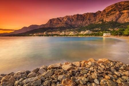 Magical sunset over the beach photo