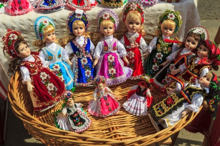 Romanian traditional colorful handmade dolls